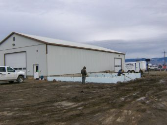 footer being prepared for new shed shop in legrande oregon