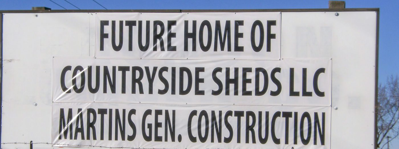 the future home of countryside sheds sign