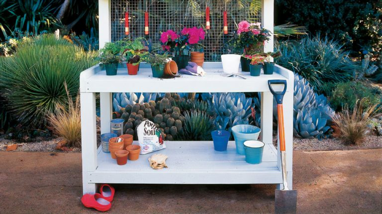 backyard potting garden storage shed table magic