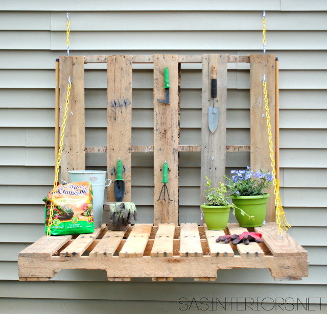 collapsible garden storage pallet table