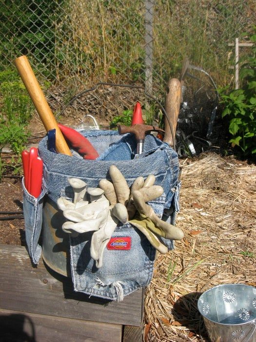 recycled jeans in garden storage shed