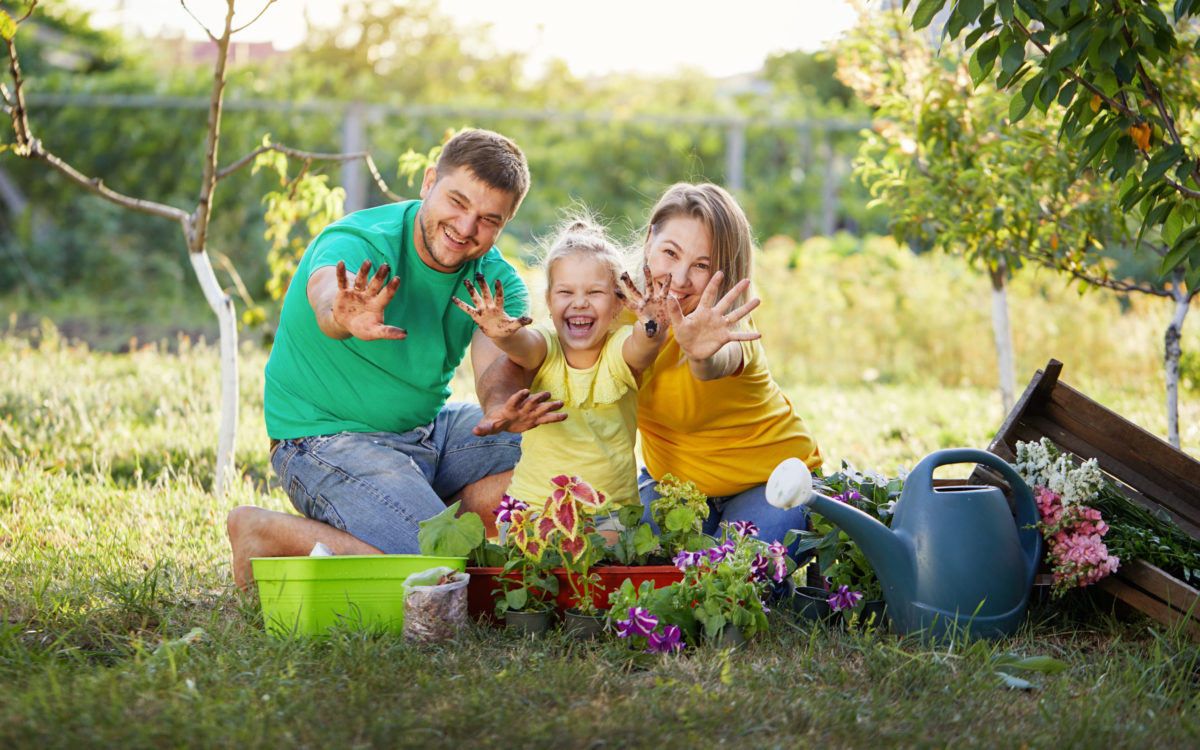 family growing their own food