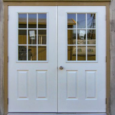 optional 6′ fiberglass metal out swing doors with optional 9lite window